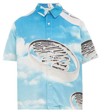 PAM Cloud Print Short Sleeve Shirt - Mens - Blue