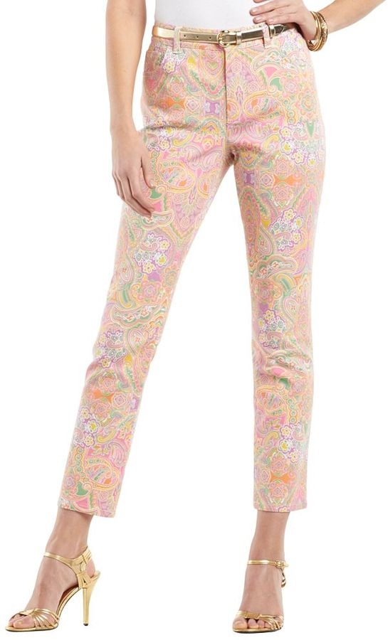 Chaps printed skinny ankle jeans - petite