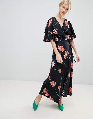 Vero Moda Printed Flutter Sleeve Wrap Maxi Dress