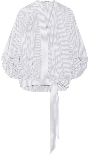 Chalayan Chalayan - Striped Cotton-poplin Blouse - White