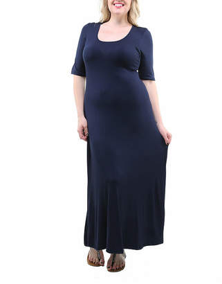 24/7 Comfort Apparel Solid Maxi Dress-Plus