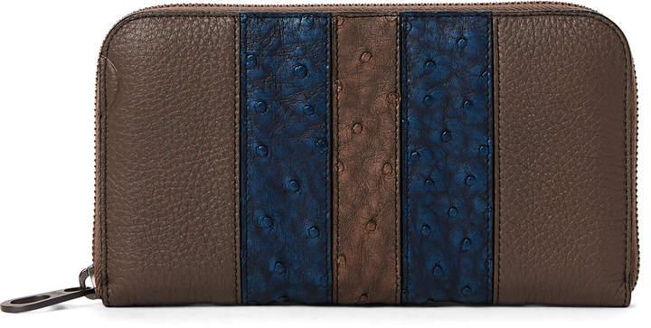 Bottega Veneta Leather Stripe Zip-Around Wallet