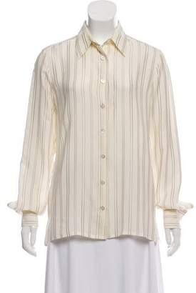 Chanel Striped Silk Button-Up