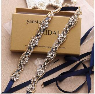 Yanstar Crystal Bridal Belt Sash For Wedding Bridesmaid Dress