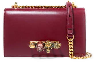Alexander McQueen Jewelled Satchel Embellished Leather Shoulder Bag - Red
