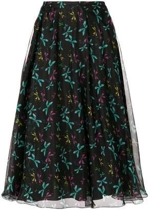 Rochas butterfly print full skirt