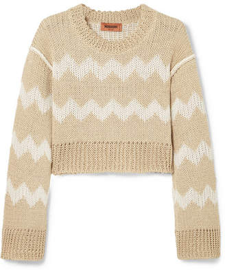 Missoni Cropped Intarsia Hemp And Wool-blend Sweater - Cream