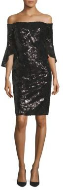 Laundry by Shelli Segal Sequined Bell Sleeve Off-The-Shoulder Dress $295 thestylecure.com