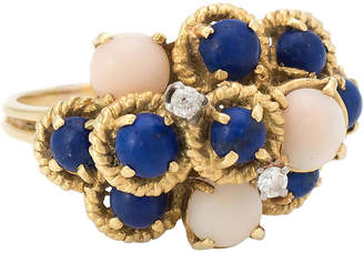 One Kings Lane Vintage Angel Skin Coral Lapis Diamond Ring - Precious & Rare Pieces