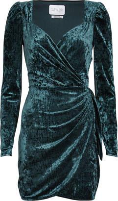 Saylor Gray Embossed Velvet Mini Dress