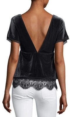 Willow & Clay V-Neck Lace-Trim Velvet Top