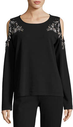 Joan Vass Beaded Open-Shoulder Cotton Top, Petite