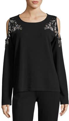 Joan Vass Beaded Open-Shoulder Cotton Top, Petite