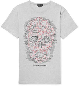 Alexander McQueen Oversized Printed Mélange Cotton-Jersey T-Shirt