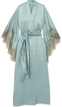 Carine Gilson Chantilly Lace-trimmed Silk-satin Robe - Sky blue