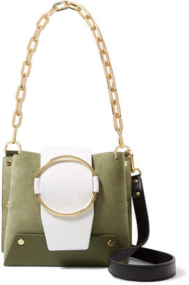 Yuzefi - Delila Color-block Textured-leather And Suede Shoulder Bag - Sage green