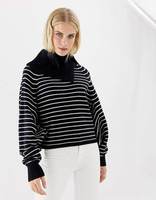 AllSaints Maddie cropped striped roll neck