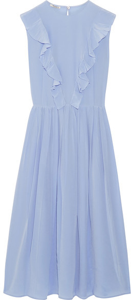 Miu Miu Miu Miu - Ruffled Silk Crepe De Chine Midi Dress - Sky blue