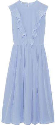 Miu Miu - Ruffled Silk Crepe De Chine Midi Dress - Sky blue
