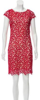 Alice + Olivia Lace Appliqué Open Back Dress Red Lace Appliqué Open Back Dress