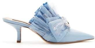 Midnight 00 - Ruched Cotton & Pvc Kitten Heel Mules - Womens - Light Blue