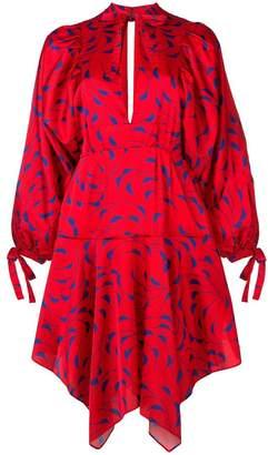 Self-Portrait printed asymmetric dress
