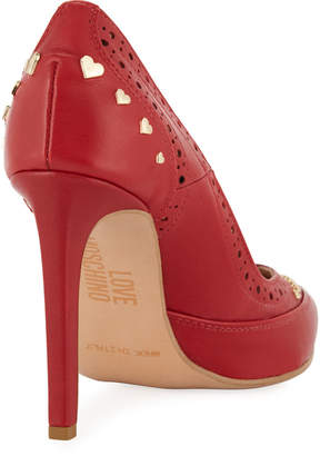 Love Moschino Studded Leather Pointed Pumps
