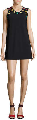 Karla Colletto Prisma Round-Neck Coverup Mini Dress, Black