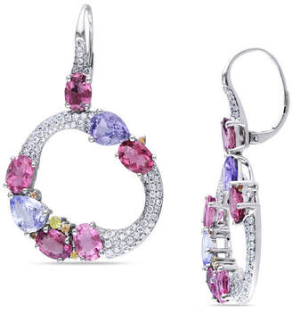 Zales Multi-Gemstone Cluster and 1-1/2 CT. T.W. Diamond Circle Drop Earrings in 14K White Gold