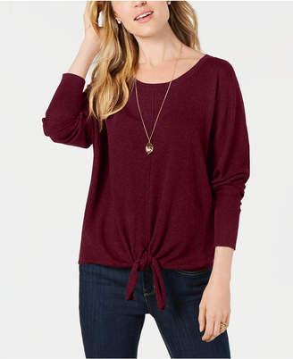 Style&Co. Style & Co Tie-Hem Sweater