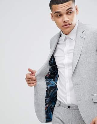 Moss Bros Slim Blazer In Gray Texture