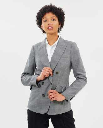 J.Crew Ruffle Glen Plaid Double Breasted Blazer