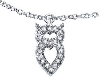 Lafonn Classic Platinum Plated Simulated Diamond Abstract Owl Necklace