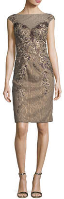 Jovani Embellished Cap-Sleeve Lace Illusion Dress