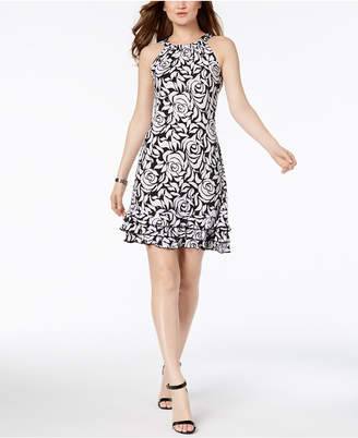 MSK Oscar Sequined Floral Ruffle Dress