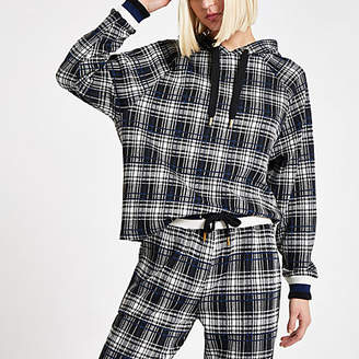 River Island Womens Black check long sleeve hoodie