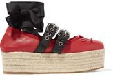 Miu Miu 绑带式皮革厚麻底鞋