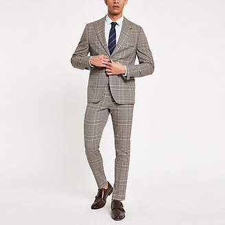River Island Brown heritage check skinny fit suit trouser