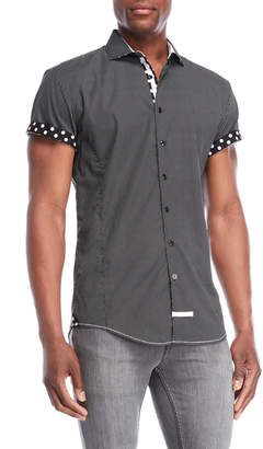 English Laundry Black Polka Dot Sport Shirt