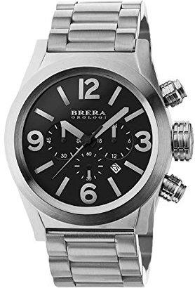 Brera Orologi bretc4589ブラックダイヤルアナログクロノグラフ45 mm WatchステンレススチールCase Black Dial with Dateブラックステンレススチールブレスレットwith署名バックル