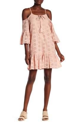 Elan International Cold Shoulder Eyelet Lace Dress