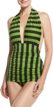 Norma Kamali Halter Bill Striped Shirred One-Piece Swimsuit
