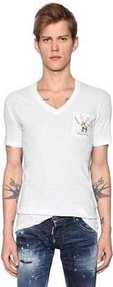 DSQUARED2 Deer Printed Slub Cotton Jersey T-Shirt