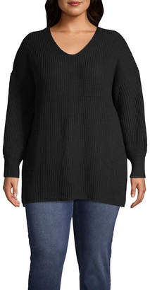 Boutique + + Long Sleeve Lace-Up Back Sweater - Plus