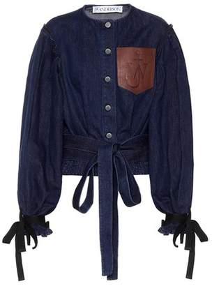 J.W.Anderson Leather-trimmed denim jacket