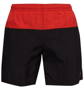 Alexander McQueen Colour Block Skull Embroidered Swim Shorts - Mens - Black Red