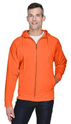 UltraClub Adult Rugged Wear Thermal-Lined Full-Zip Hooded Fleece - BRIGHT ORANGE - L 8463