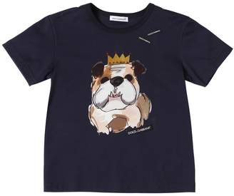 Dolce & Gabbana Bulldog Printed Cotton Jersey T-Shirt