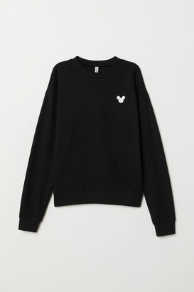 H&M Sweatshirt with Embroidery - Black