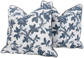 One Kings Lane Vintage ScalamandrA Toile Linen Pillows - Set of 2 - Ivy and Vine
